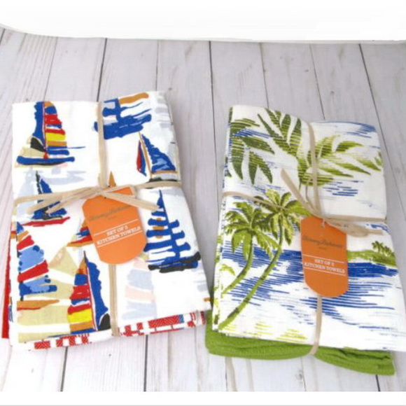 Tommy Bahama Kitchen Towels 2 Sets Palm Trees Boat NWT